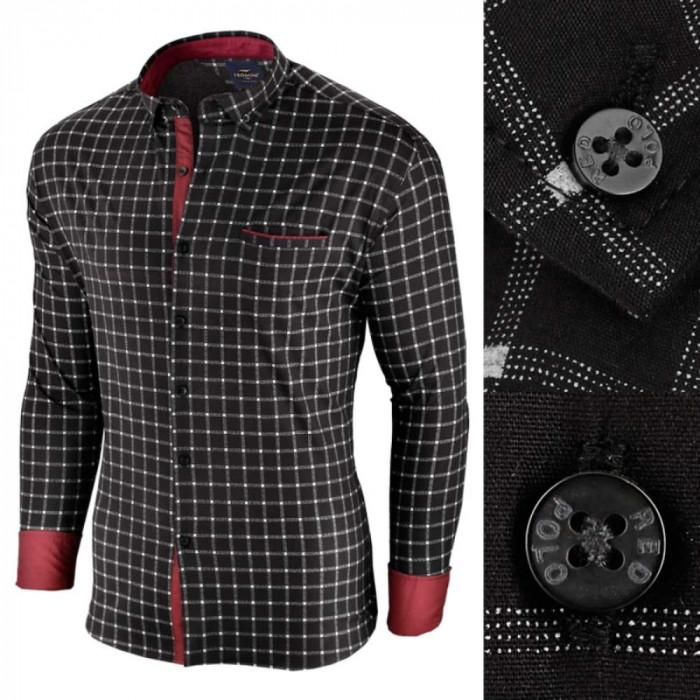 Camasa pentru barbati, in carouri, neagra, premium, slim fit, casual - Red Polo
