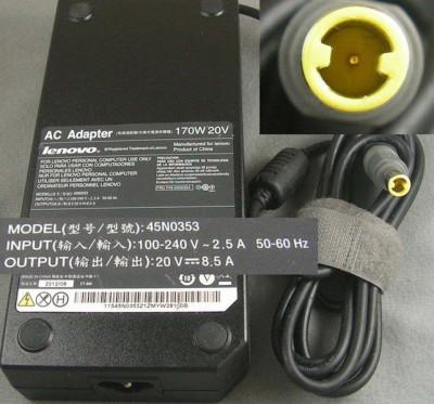 Alimentator laptop original ca nou LENOVO T530 T530i W520 W530 Model 45N0353 20V 8.5A 170W foto