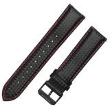 Curea piele compatibila Huawei Watch 2 Classic, Telescoape QR, 22mm, Negru/Rosu, Very Dream