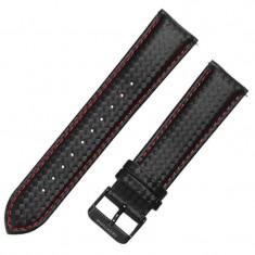 Curea piele compatibila Samsung Galaxy Watch 46mm, Telescoape QR, 22mm, Negru/Rosu