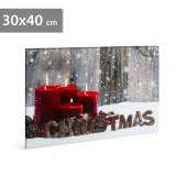FAMILY POUND - Tablou de Craciun, cu LED - cu agatatoare de perete, 2 x AA, 30 x 40 cm