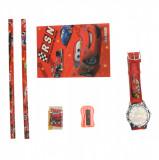 Set ceas, pentru copii, cu Fulger McQueen, caiet si rechizite cadou - 5020614