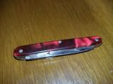 Briceag vechi Stantat,Briceab vechi cu plasele sidefate rosii,Colectie,T.GRATUIT