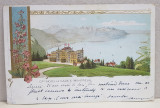 A. D XENOPOL CATRE ELIZA XENOPOL *, CARTE POSTALA ILUSTRATA , CROMOLITOGRAFIE , HOTEL DE CAUX - MONTREUX , CIRCULATA , CLASICA , 1900