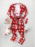Cumpara ieftin Pijama dama ieftina rosie cu roz compusa din halat, tricou si pantaloni lungi cu imprimeu Unicorn