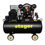 Compresor aer Stager, 4100 W, 10 bar, 200 l, 600 l/min, 950 rpm, trifazat, angrenare curea