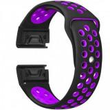 Curea ceas Smartwatch Garmin Fenix 3 / Fenix 5X, 26 mm iUni Silicon Sport Negru-Mov