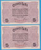 (1) SET 2 BANCNOTE ROMANIA - 5 LEI 1917 BGR, SERII CONSECUTIVE,STARE FOARTE BUNA