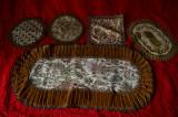 Mileuri vintage brodate cu fir metalic auriu 5 bucati