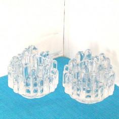 Suporturi lumanare, cristal suflat manual -Polar- design Goran Warff, Kosta Boda