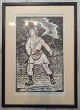 """Tablou, Nicolae Brana, """" Semanatorul """" xilogravura"""