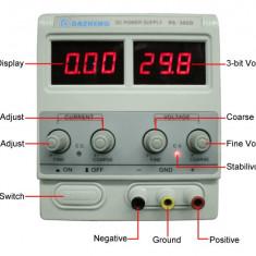 Sursa tensiune reglabila 0 - 30V 5A Afisaj consum curent AF-110118-15