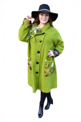 Jacheta fashion tip pardesiu, nuanta de verde cu guler deosebit foto