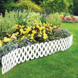 Cumpara ieftin Pachet 4 buc Bordura Gardulet Decorativ Plastic pentru Gazon sau Flori, Dimensiuni 240x22cm, Alb