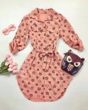 Cumpara ieftin Rochie ieftina casual stil camasa roz si neagra cu stelute si cordon in talie