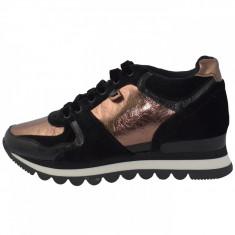 Adidasi dama, din textil si sintetic, marca Gioseppo, 46562-D4-12, auriu cu negru , marime: 39