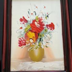 Tablou mic cu flori, in ulei, tehnica cutit, culori vibrante