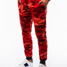 Pantaloni barbati de trening rosu slim fit camuflaj stil militar P820