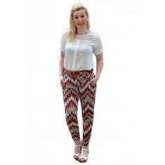 Pantalon salvar, din material racoros cu imprimeu colorat