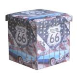 Taburet cu spatiu depozitare 38 x 38 x 37.5 cm cu imprimeu Route66
