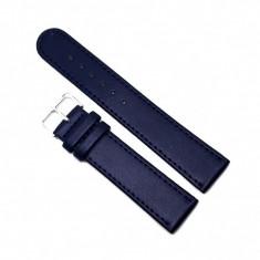 Curea pentru ceas din piele naturala antialergica Albastru Inchis - 20mm - C3064-432