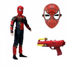 Set costum Iron Spiderman cu muschi Home coming pentru copii,masca si pistol cu sageti din burete, L, 7 - 9 ani