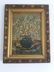 Tablou vechi - Vaza cu flori - Verso: dedicatie pentru prieteni 1977(23) foto