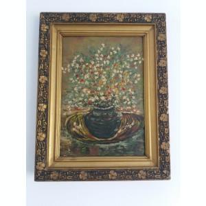 Tablou vechi - Vaza cu flori - Verso: dedicatie pentru prieteni 1977(23)