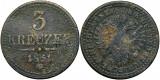 1851 G (Baia Mare), 3 kreuzer - Franz Joseph - Imperiul Habsburgic!