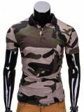 Cumpara ieftin Tricou pentru barbati polo, army, camuflaj, stil militar, slim fit, casual - S694 - negru verde