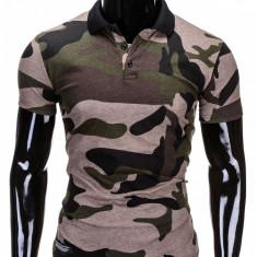Tricou pentru barbati polo, army, camuflaj, stil militar, slim fit, casual - S694 - negru verde