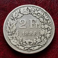 ELVETIA - 2 Franci 1886 B ( Francs - Franken ) Argint