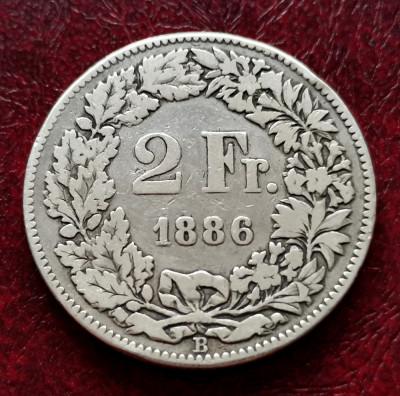 ELVETIA - 2 Franci 1886 B ( Francs - Franken ) Argint foto