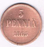 Moneda 5 pennia 1865 - Finlanda, Europa
