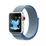 Curea compatibila Apple Watch, 42/44mm, nylon, albastru/gri