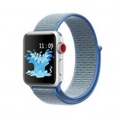 Curea compatibila Apple Watch, 42/44mm, nylon, albastru/gri