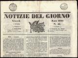 """Italy 1845 Stamped Newspaper """"Notizie del Giorno"""" Roma- Complete D.634"""