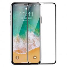Folie iPhone 11 Pro / iPhone XS / iPhone X, Sticla Securizata, Cu Rama, Baseus, Negru