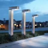 Lampa Solara LED tip Stalpisor din Metal Satinat, Inaltime 42cm