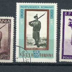 PICTURA GRIGORESCU – UNIFORME MILITARE ROMANESTI, 3 timbre stampilate, SD188