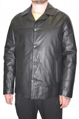 Haina barbati, din piele naturala, La Strada, 0-12-1, negru foto
