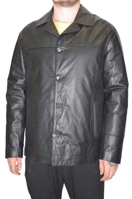 Haina barbati, din piele naturala, La Strada, 0-12-1, negru