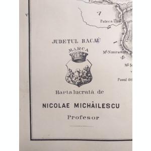 JUDETUL BACAU // HARTA CROMOLITOGRAFIATA, 1904