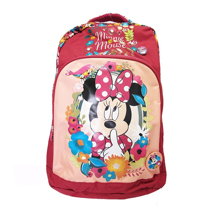 Ghiozdan clasele I-IV Pigna Minnie Mouse roz inchis floral MNRS1840-3