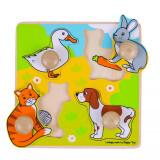 Primul meu puzzle Animale de Companie, 4 piese, 12 luni+, Bigjigs