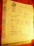 Facturi cu Antet - Industria Sarmei Bucuresti 1943 cu anexe , 12Timbre Fiscale