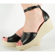 Sandale negre platforma usoare si comode (cod 197007)