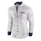 Camasa pentru barbati, alba, flex fit, cu model - Soiree d'automne II, 3XL, L, M, S, XL, XXL, Maneca lunga