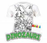 Tricou de colorat cu markere lavabile Dinozauri 9-11 ani