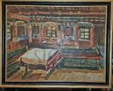 Cumpara ieftin TABLOU, ELENA PETRAGLU NICULESCU ( DESLIU ) , INTERIOR TARANESC, U/C, 1958